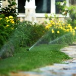 sprinklers, walkway, flowers, grass, irrigation