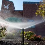 sprinkler watering garden in front of commercial building